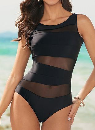 Polyester Solid One-piece Swimwear (146910752)