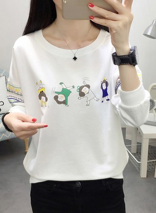 Cotton Character Round Neck Long Sleeve Casual T-shirts