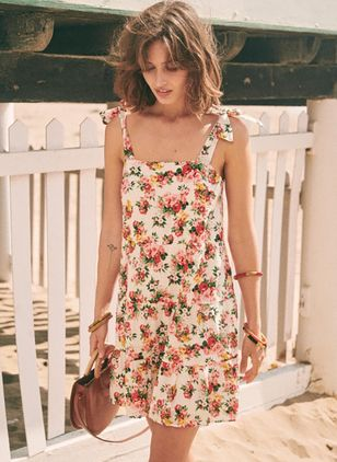 Floral Bow Slip Above Knee A-line Dress