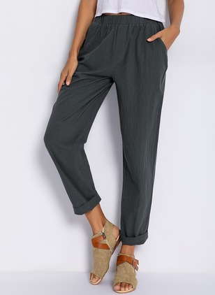 Casual Straight Pockets Mid Waist Cotton Pants (1347987)