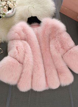 Long Sleeve V-neck Fur Coats