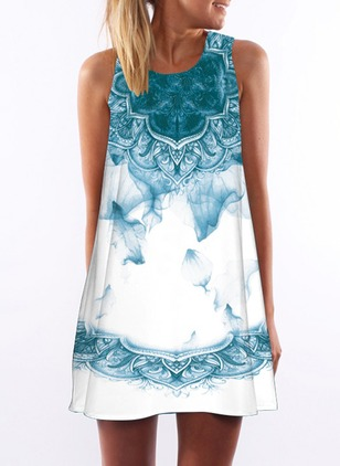 Floral Tank Camisole Neckline Sleeveless A-line Dress