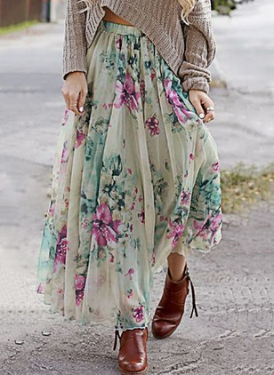 Cotton Floral Maxi Casual Ruffles Skirts