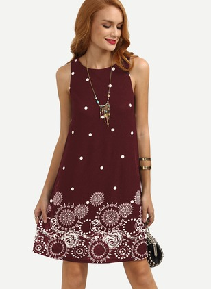 Polyester Polka Dot Sleeveless Above Knee Dresses