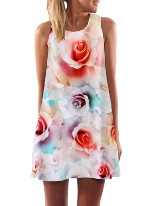 Polyester Floral Sleeveless Mini Dresses