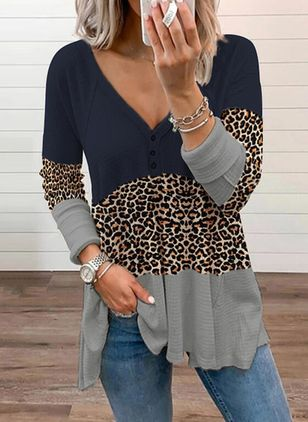 Leopard Casual V-Neckline Long Sleeve Blouses (146743948)