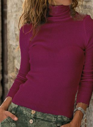High Neckline Solid Casual Tight Regular X-line Sweaters (131285159)