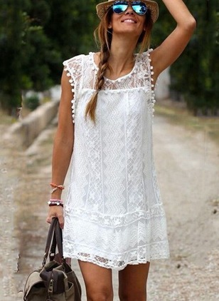 Solid Lace Sleeveless Shift Dress