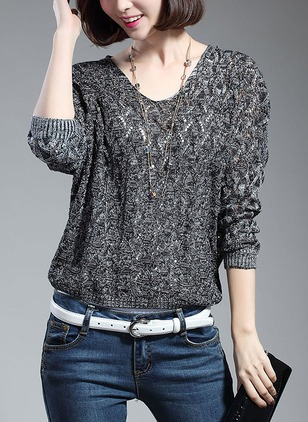 Polyester Round Neckline Solid Loose Sweaters