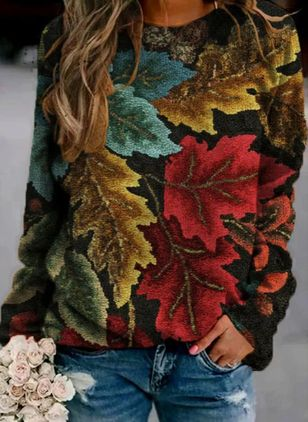 Round Neckline Floral Casual Regular Shift Sweaters (146781353)