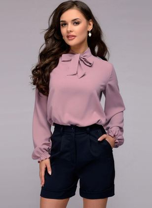 Solid Casual High Neckline Long Sleeve Blouses