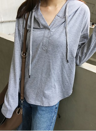 Cotton Blends Hooded Solid Casual Loose Sweaters