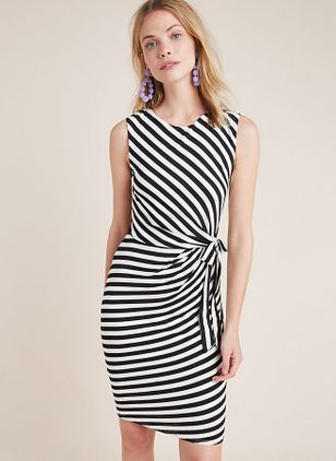 Stripe Sleeveless Knee-Length X-line Dress