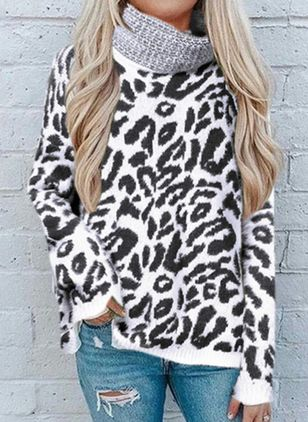 High Neckline Leopard Casual Loose Regular Shift Sweaters (131285288)