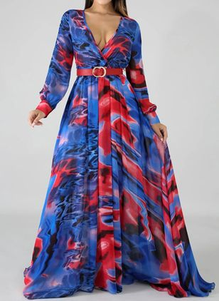 Sexy Color Block V-Neckline Maxi X-line Dress (109555853)