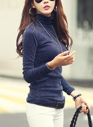 Solid Casual Polyester High Neckline Long Sleeve Blouses