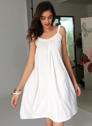 Polyester Solid Sleeveless Above Knee Dresses