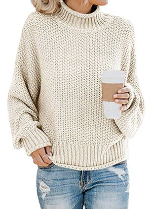 Round Neckline Solid Elegant Loose Regular Shift Sweaters (1382123)