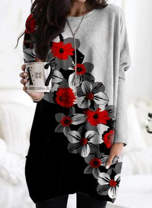 Round Neckline Floral Spring Loose Regular Pockets Sweaters (146786894)