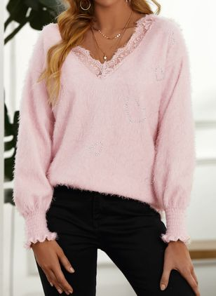V-Neckline Geometric Casual Regular Lace Sweaters (146859573)