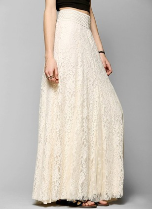 Polyester Solid Maxi Elegant Lace Skirts