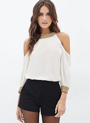 Color Block Casual Chiffon Others 3/4 Sleeves Blouses