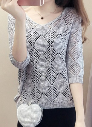 V-Neckline Solid Regular Hollow Out Sweaters