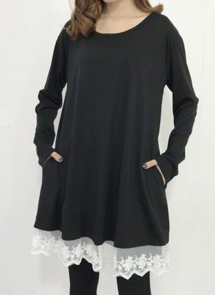 Casual Solid Tunic Round Neckline A-line Dress (146718393)
