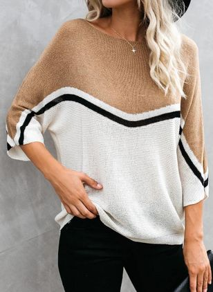 Round Neckline Color Block Casual Loose Regular Shift Sweaters (1512318)