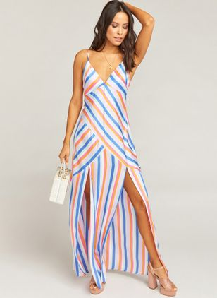 Color Block Sleeveless Maxi X-line Dress