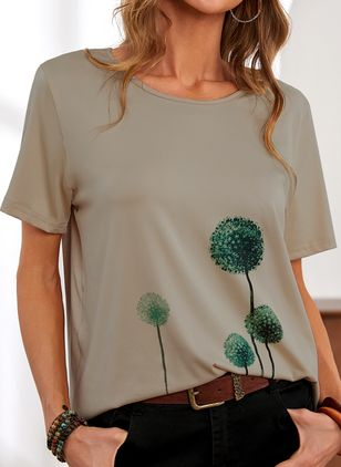 Floral Round Neck Short Sleeve Casual T-shirts (146909399)