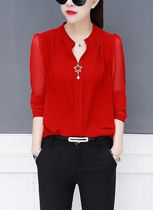 Solid Casual Chiffon Collar 3/4 Sleeves Blouses