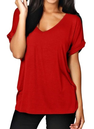 Solid V-Neckline Short Sleeve Casual T-shirts