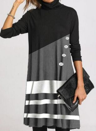 Casual Color Block Shirt High Neckline Shift Dress (146643184)