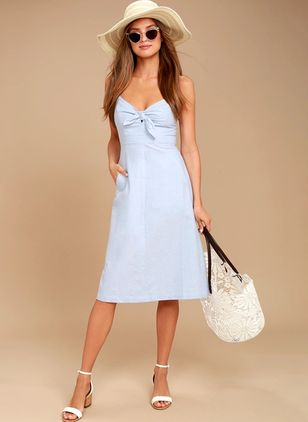 Solid Pockets Slip Knee-Length X-line Dress