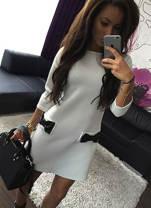 Color Block Pockets Long Sleeve Shift Dress