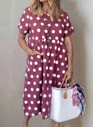Casual Polka Dot Tunic Round Neckline Shift Dress (2200758)