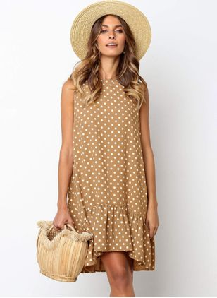 Polka Dot Ruffles Round Neckline Knee-Length A-line Dress