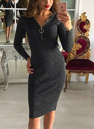 Cotton Solid Long Sleeve Midi Dresses