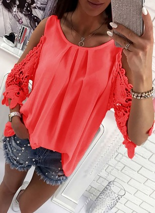 Solid Casual Chiffon Round Neckline Half Sleeve Blouses