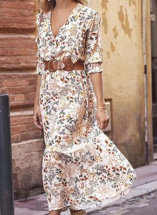 Casual Floral V-Neckline Midi X-line Dress (100002254)