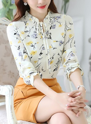 Floral Casual Collar 3/4 Sleeves Blouses