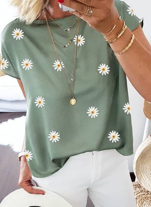 Floral Casual Round Neckline Short Sleeve Blouses (101241325)