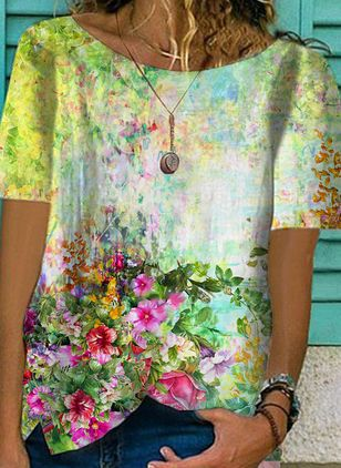 Floral Round Neck Short Sleeve Casual T-shirts (147471990)