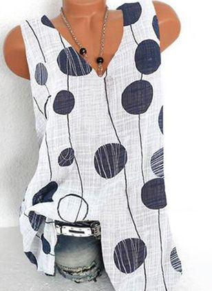 Polka Dot Casual V-Neckline Sleeveless Blouses (100668609)