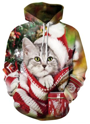 Animal Christmas Hooded Pockets Sweatshirts