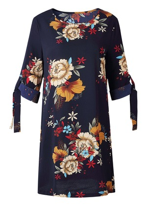 Floral Bow Peasant Mini Shift Dress