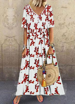 Casual Floral V-Neckline Maxi A-line Dress (4864731)