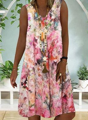 Casual Floral Tunic V-Neckline A-line Dress (101986517)