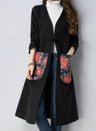 Long Sleeve Collarless Pockets Coats (131285423)